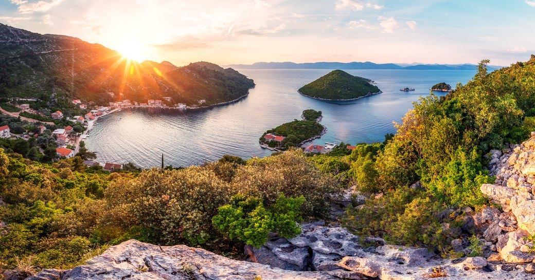 Panoramic view and sunset image of Prozurska luka at island Mljet in Croatia