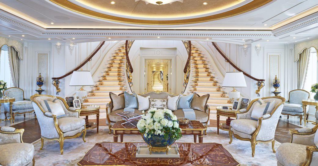 Main staircase and main salon on superyacht TIS