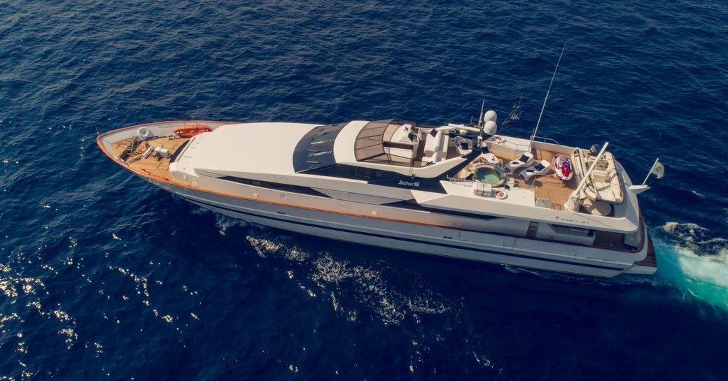 Aerial image of superyacht ANDREA underway