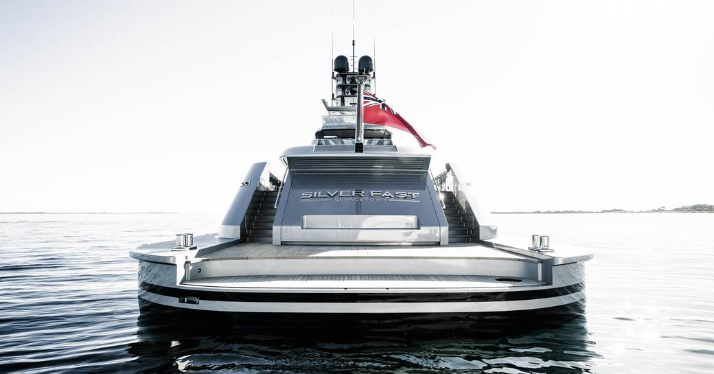 aft view of superyacht 'Silver Fast' with large swim platform