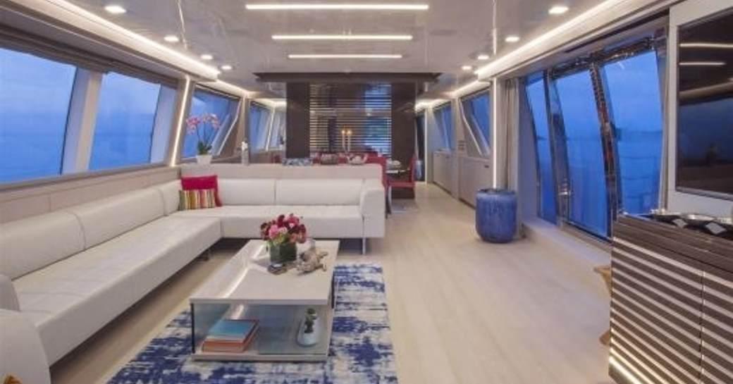 modern, bright and airy main salon aboard charter yacht Alandrea
