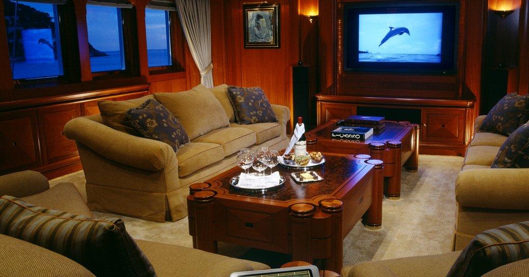 Private salon on board charter yacht ATHENA