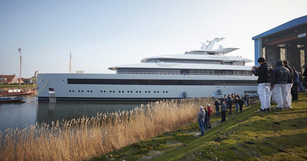 moonrise luxury yacht leaving shed