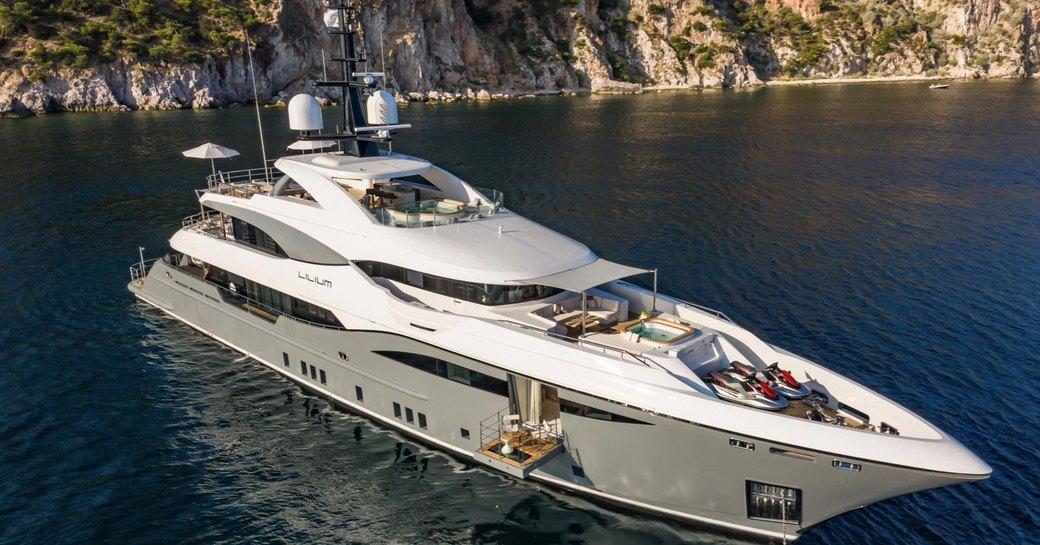 Superyacht Lilium at anchor in the Mediterranean