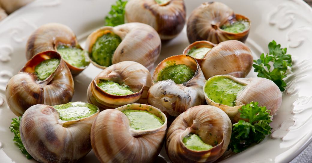 snails served for dinner in a restaurant in the South of France