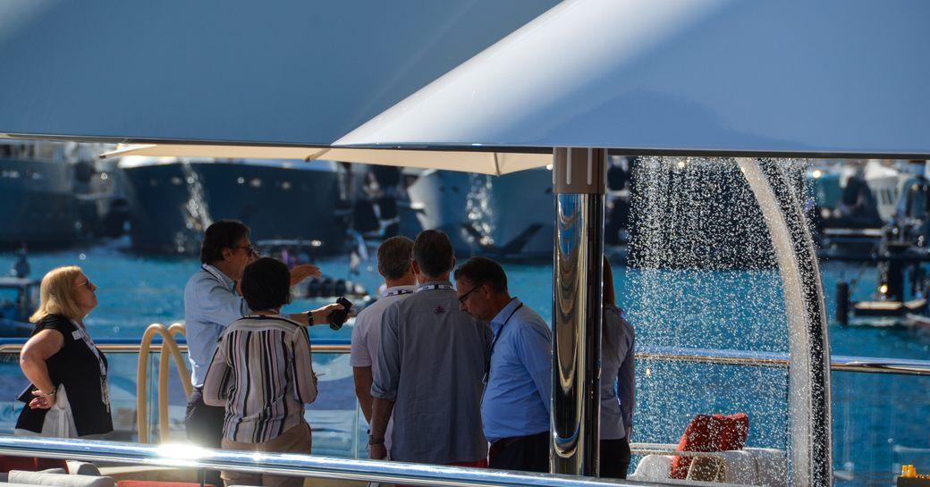 waterfall jacuzzi in superyacht dar during monaco yacht show 2018