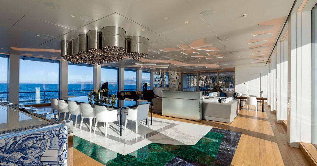 luminosity yacht main salon and dining area