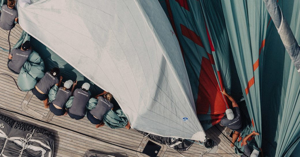 sailors at work at the NZ Millennium Cup in New Zealand