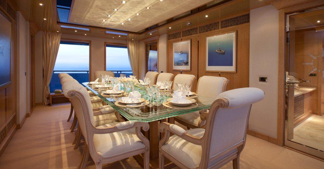 Dining area of Oceanco motor yacht FRIENDSHIP