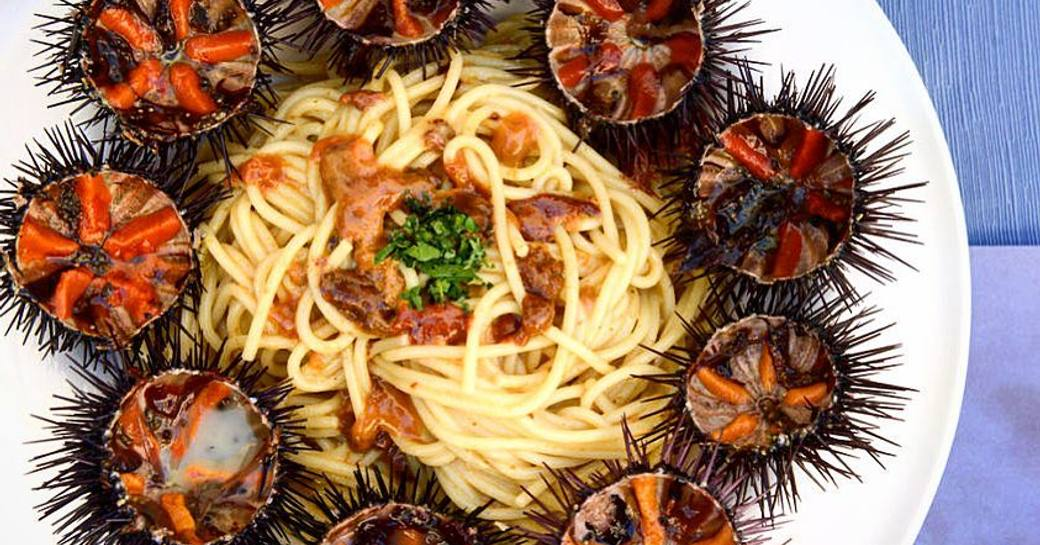 Closeup of a white plate with spaghetti surrounded by halved sea urchins, known as bogamari in Sardinia