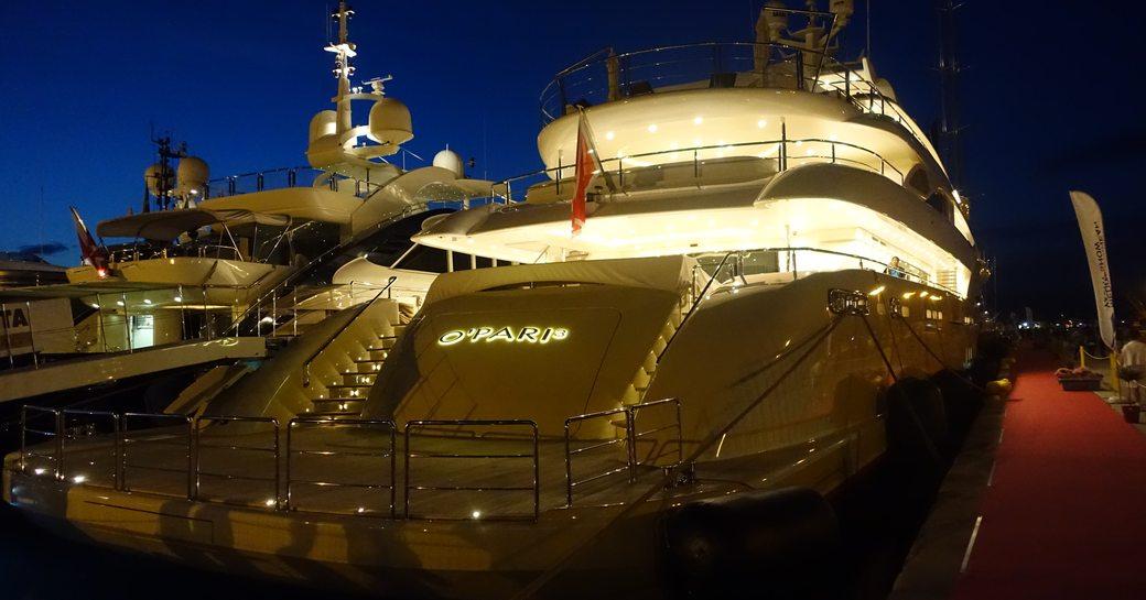 Superyacht O'Pari 3 at the Mediterranean Yacht Show