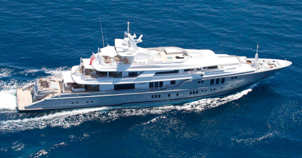 superyacht siren underway in the bahamas where guests can enjoy their self isolation yacht charter vacation in peace
