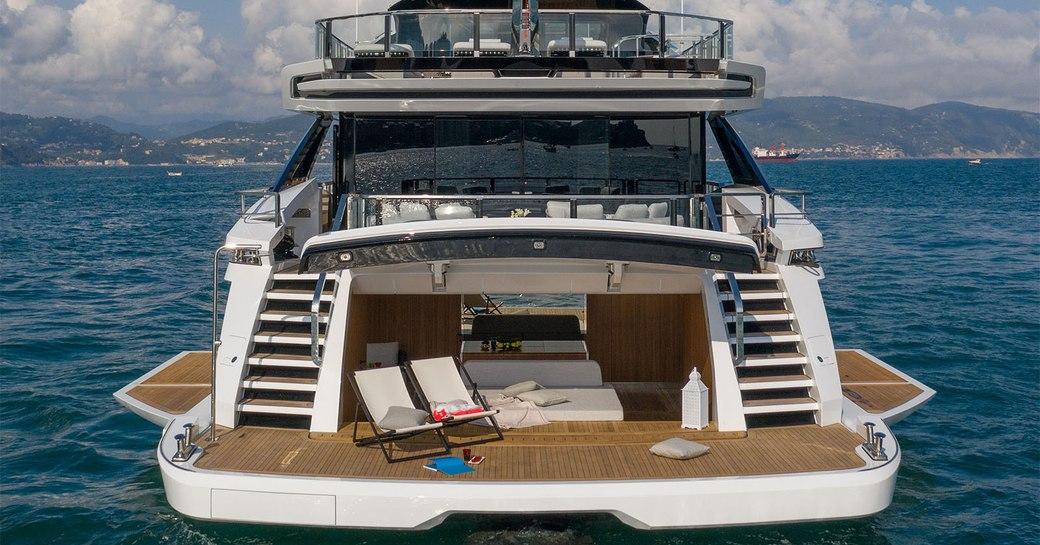 beach club and swim platform on superyacht MA