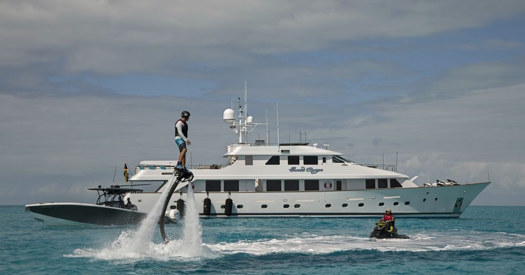 luxury yacht sweet escape toy locker, with fly boards and jet skis