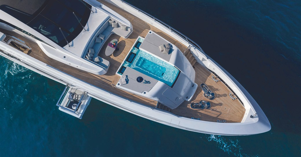 Superyacht MA aerial shot with pool and sea terrace