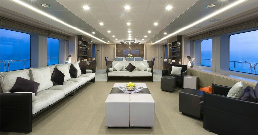 The main salon on board luxury yacht EDESIA