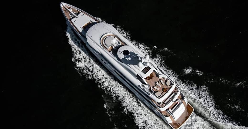 Aerial shot of superyacht Aurora Borealis underway