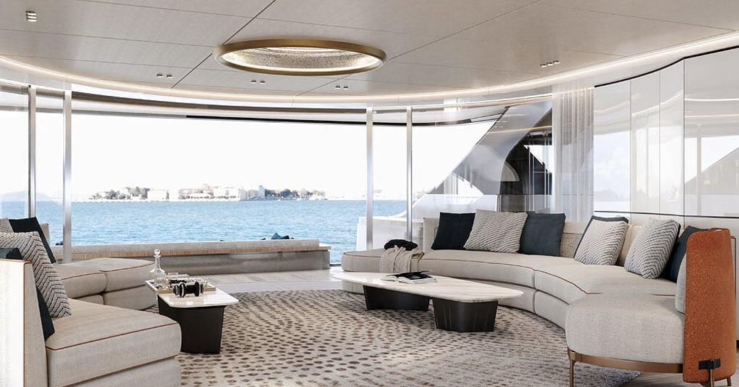 main salon on board benetti yacht rebeca