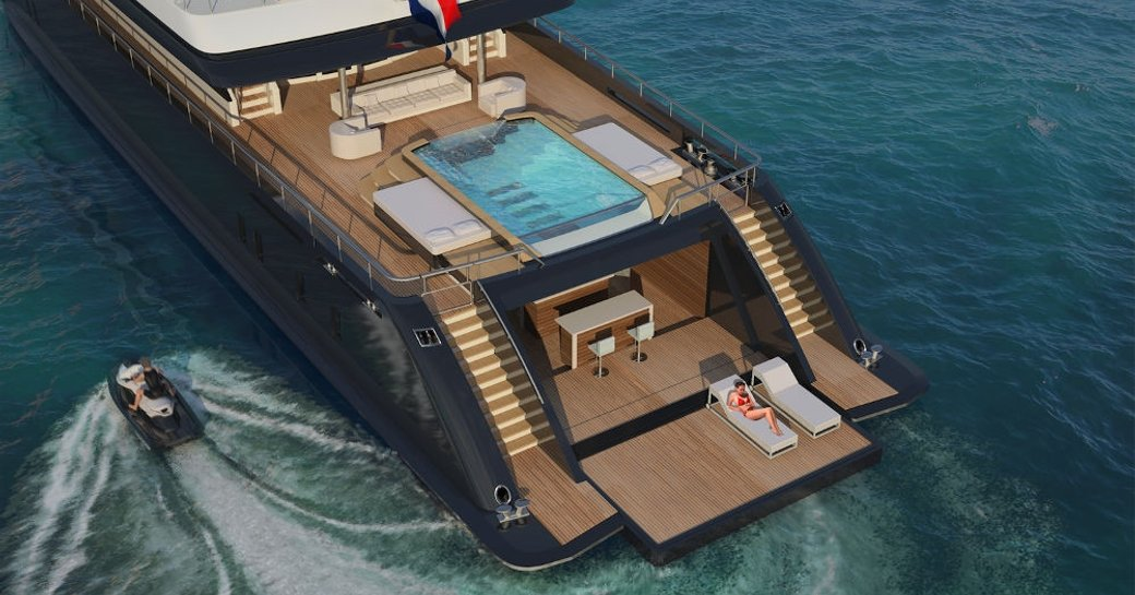 New swimming pool on Superyacht Icon
