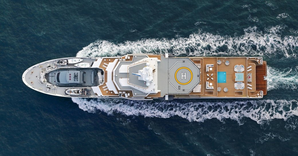 An aerial image of superyacht ULYSSES