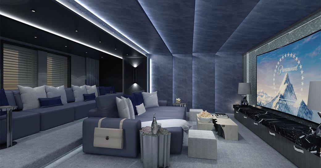 cinema room on luxury yacht tatiana