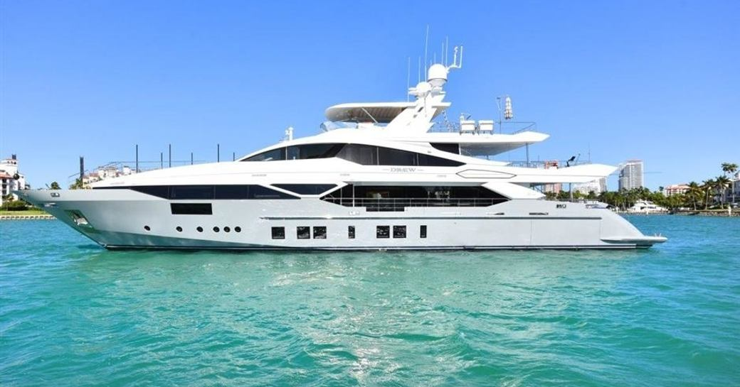 Motor yacht Drew anchors in the Bahamas on a luxury yacht charter