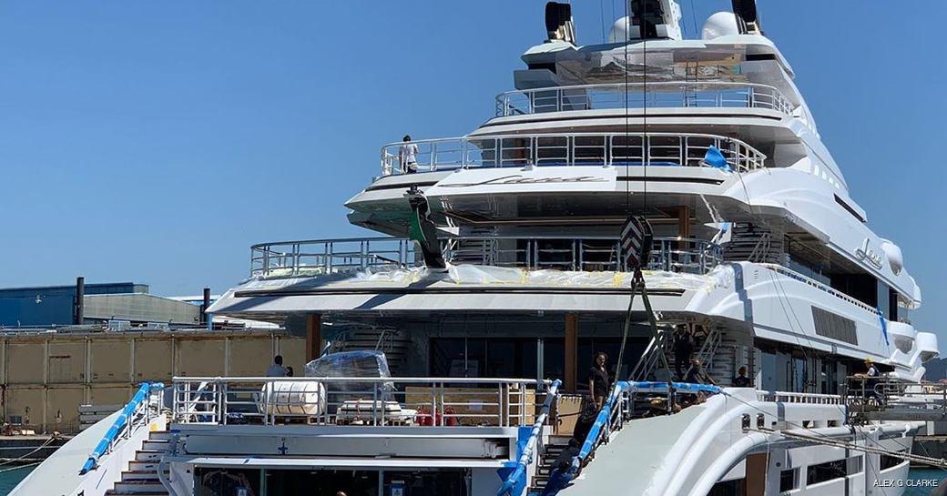 lana yacht docked at benetti facilities