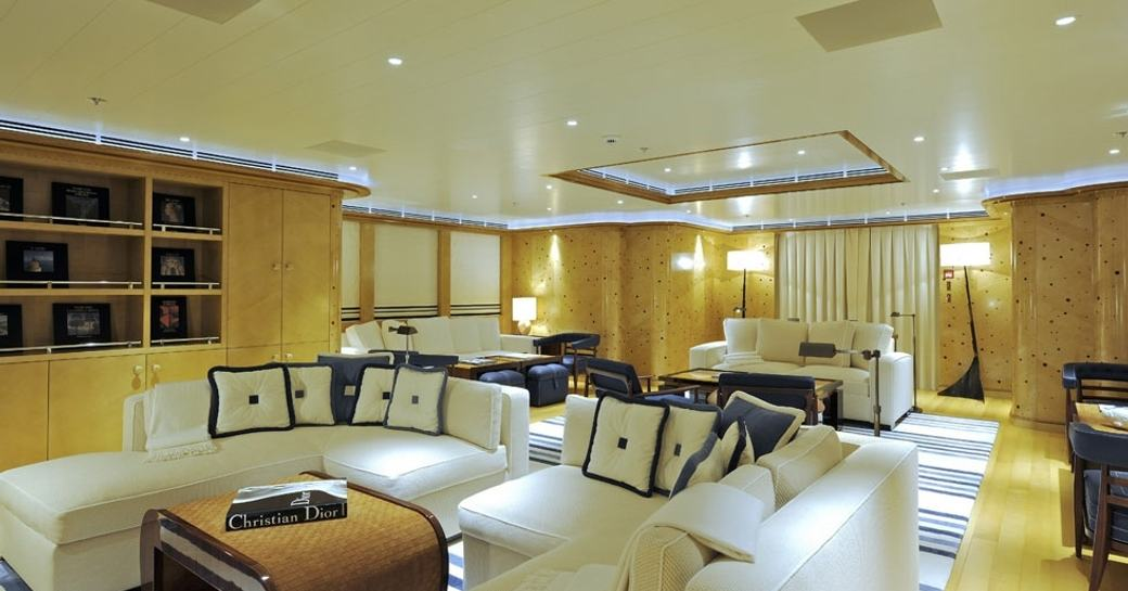 Salon with seating on board Lurssen motor yacht TV
