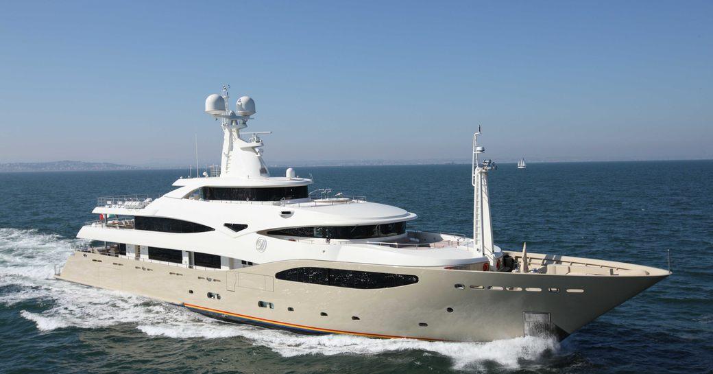 running shot of crn charter yacht light holic
