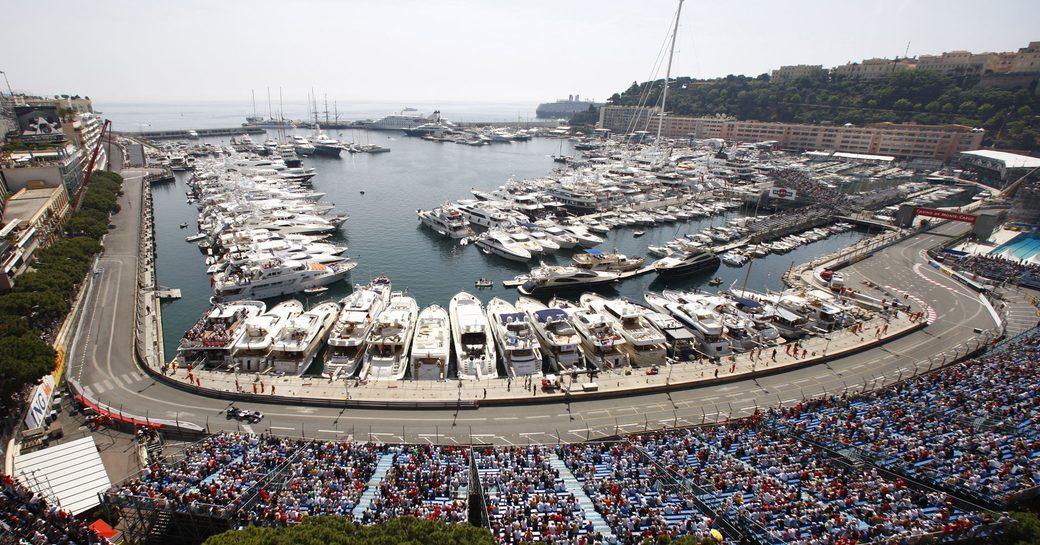 The yachts attending the Monaco Grand Prix