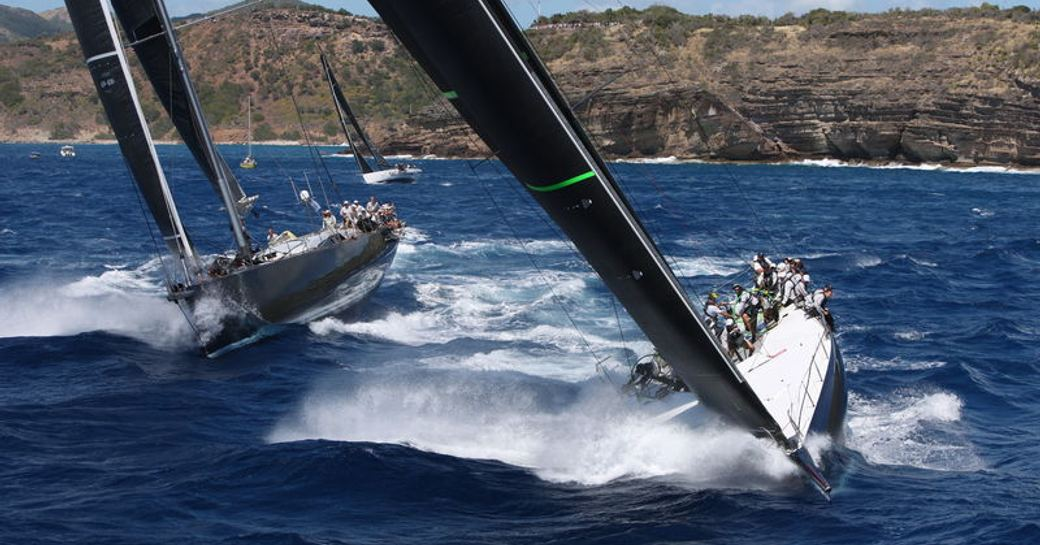 yachts cutting through the waters on day one of the RORC Caribbean 600