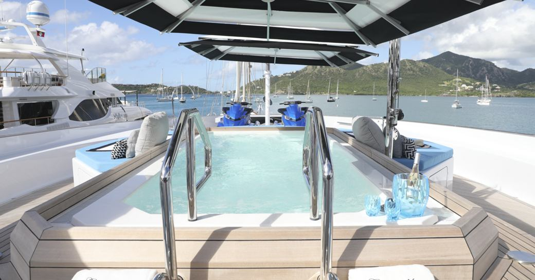 pool on luxury yacht in antigua during charter show