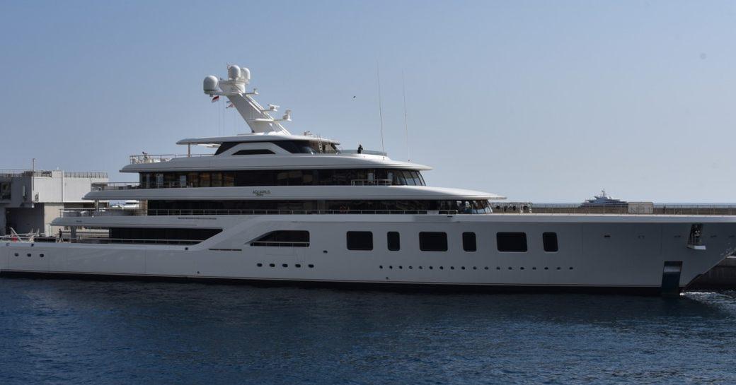 Superyacht AQUARIUS profile shot on the water