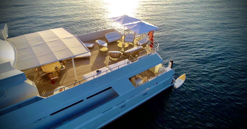 View of sundeck on superyacht LIONSHARE from above