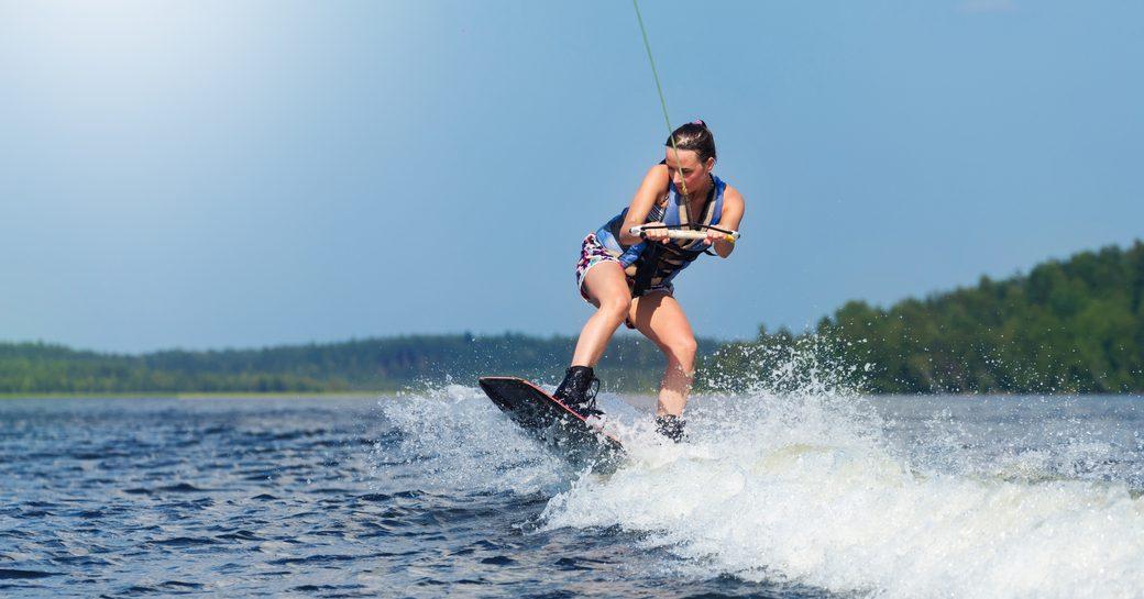 Woman wakeboarding