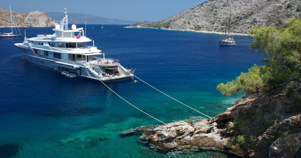superyacht moored in greece