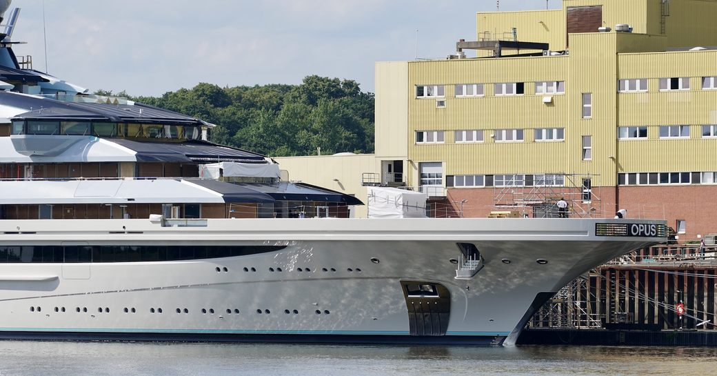 megayacht opus, or nord, in front of lurssen facilities