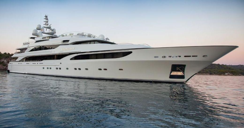 Superyacht 'LIONESS V' sat at-anchor