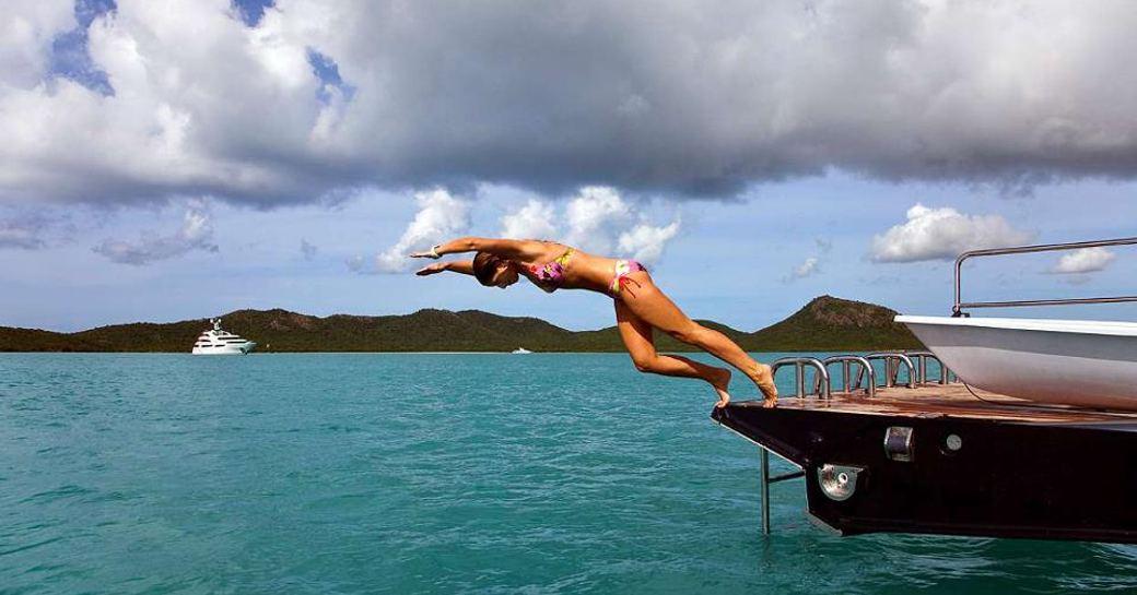 swim platform of luxury yacht prana