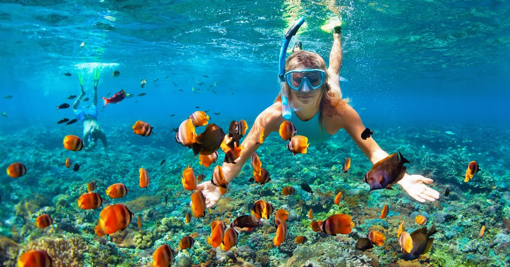 LAdy udnerwater snorkeling in clear sea with numerous colorful fish around