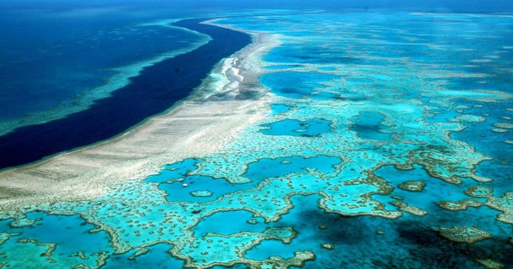 glittering hues of the beautiful Great Barrier Reef, Australia, captured from above