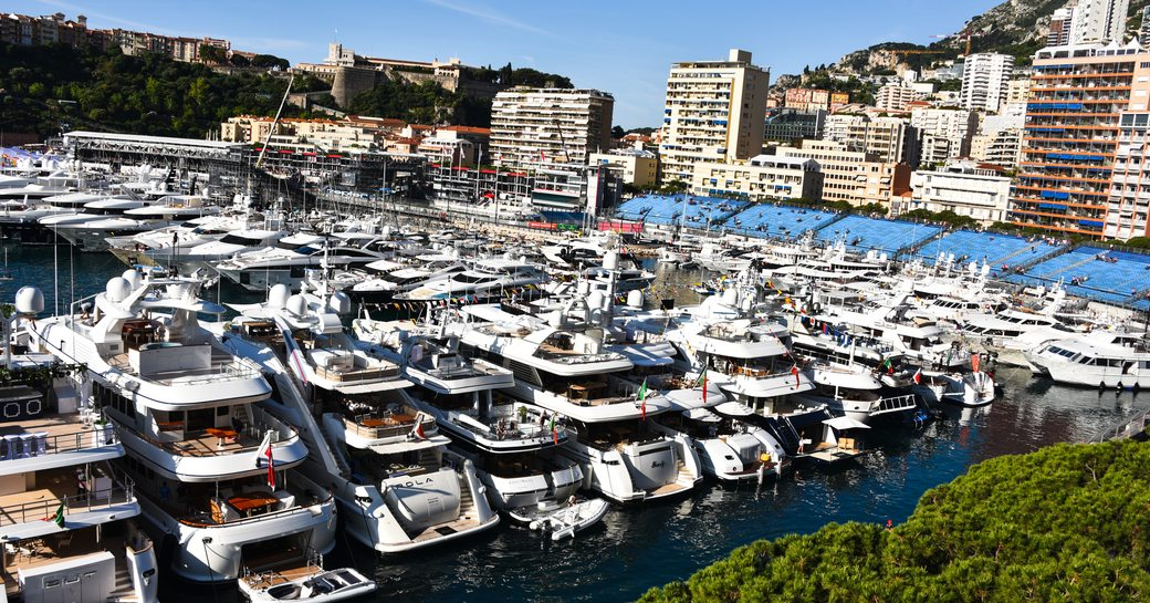 yachts in monaco during the formula one grand prix weekend