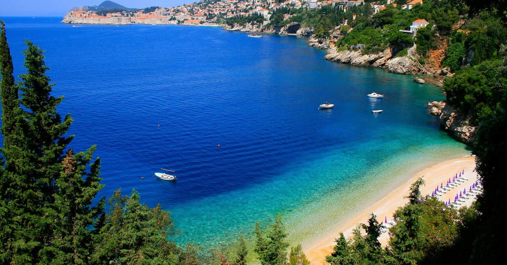Beautiful sapphire blue sea on Italian coast
