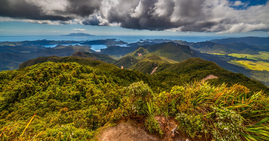Island overlook from Mt Hobson, Great Barrier Island, New Zealand