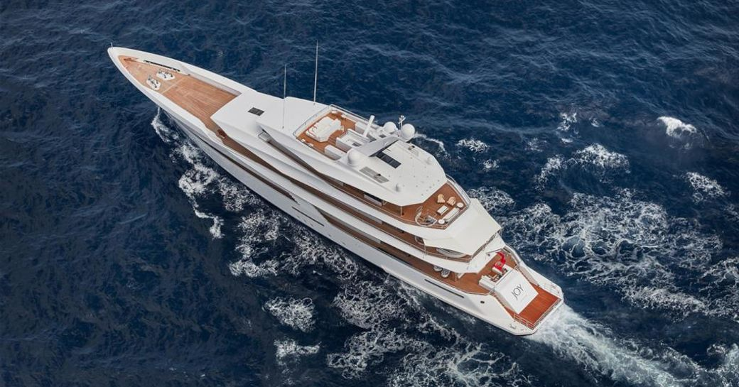 An aerial view of superyacht JOY