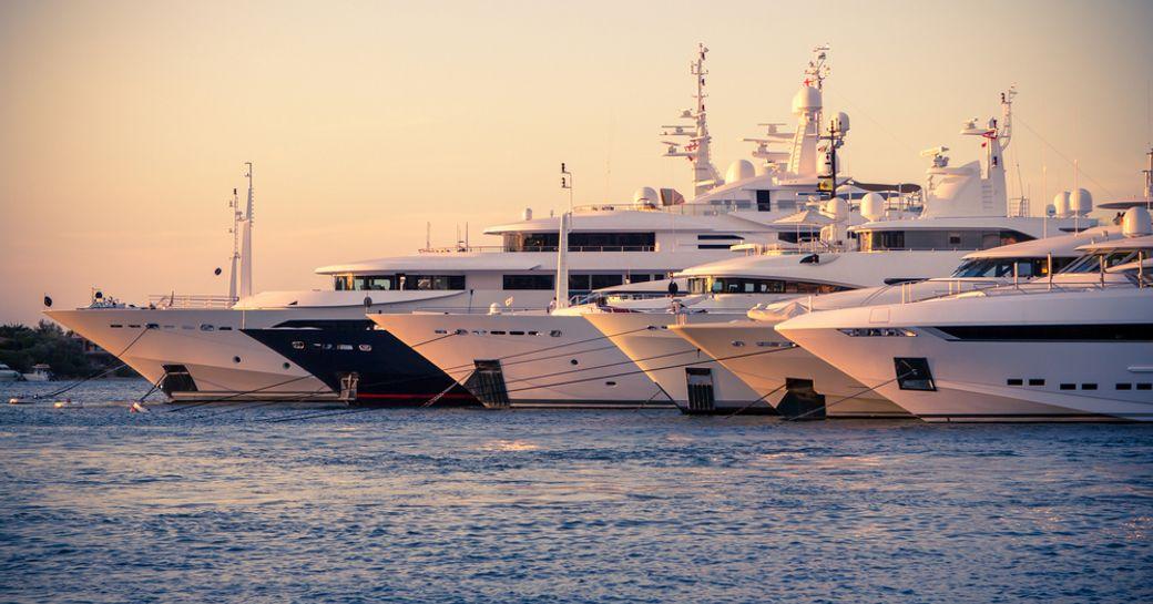 superyachts at the harbour in sardinia, porto cervo