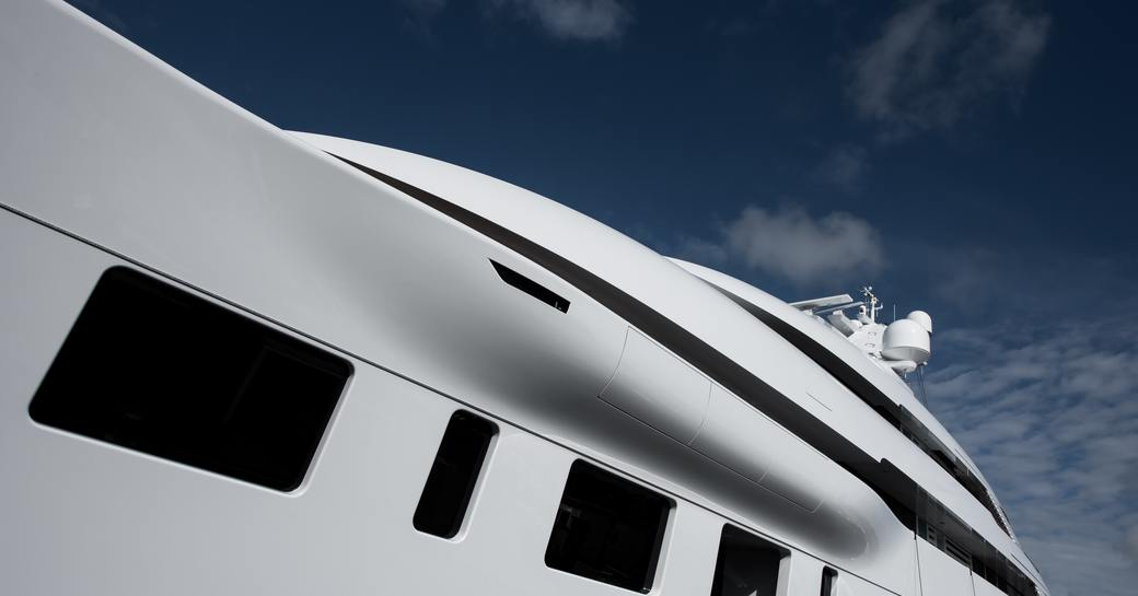 Close up of superyacht BLISS