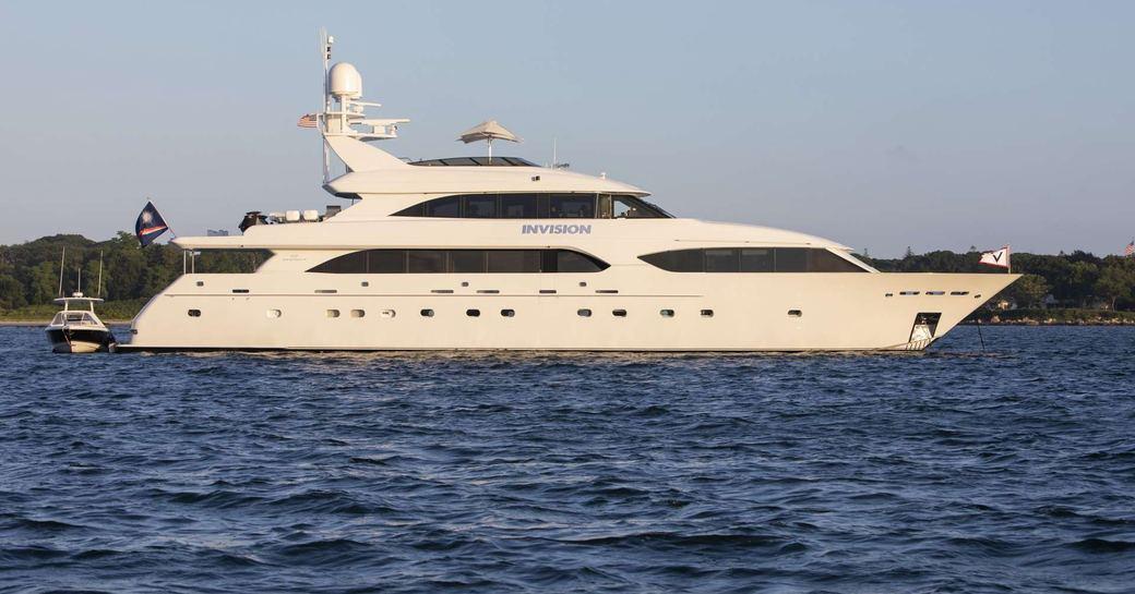 Superyacht INVISION profile shot at sea