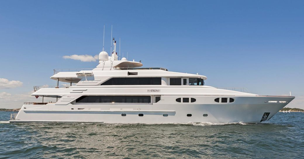charter yacht Far From It underway on a Caribbean yacht charter