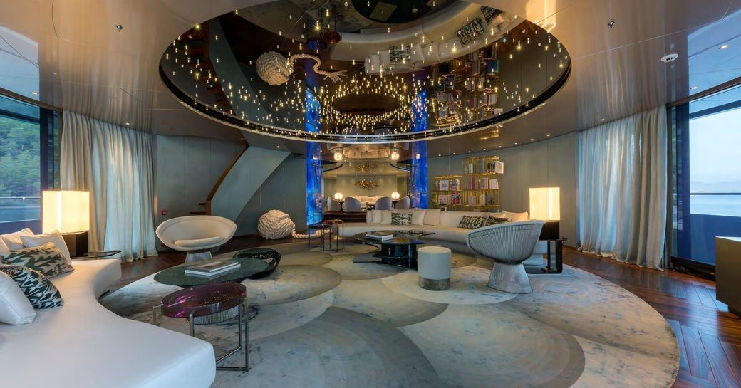 beautiful main salon with curved lines and state-of-the-art lighting aboard motor yacht SAVANNAH